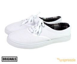 White Men's Canvas Shoes Lace Up Casual Sneakers Kicks Originals Lowtop Footwear - $13.99
