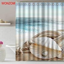 WONZOM Sea Landscape Shower Curtains For Bathroom Decor Modern Shell Waterproof  image 4