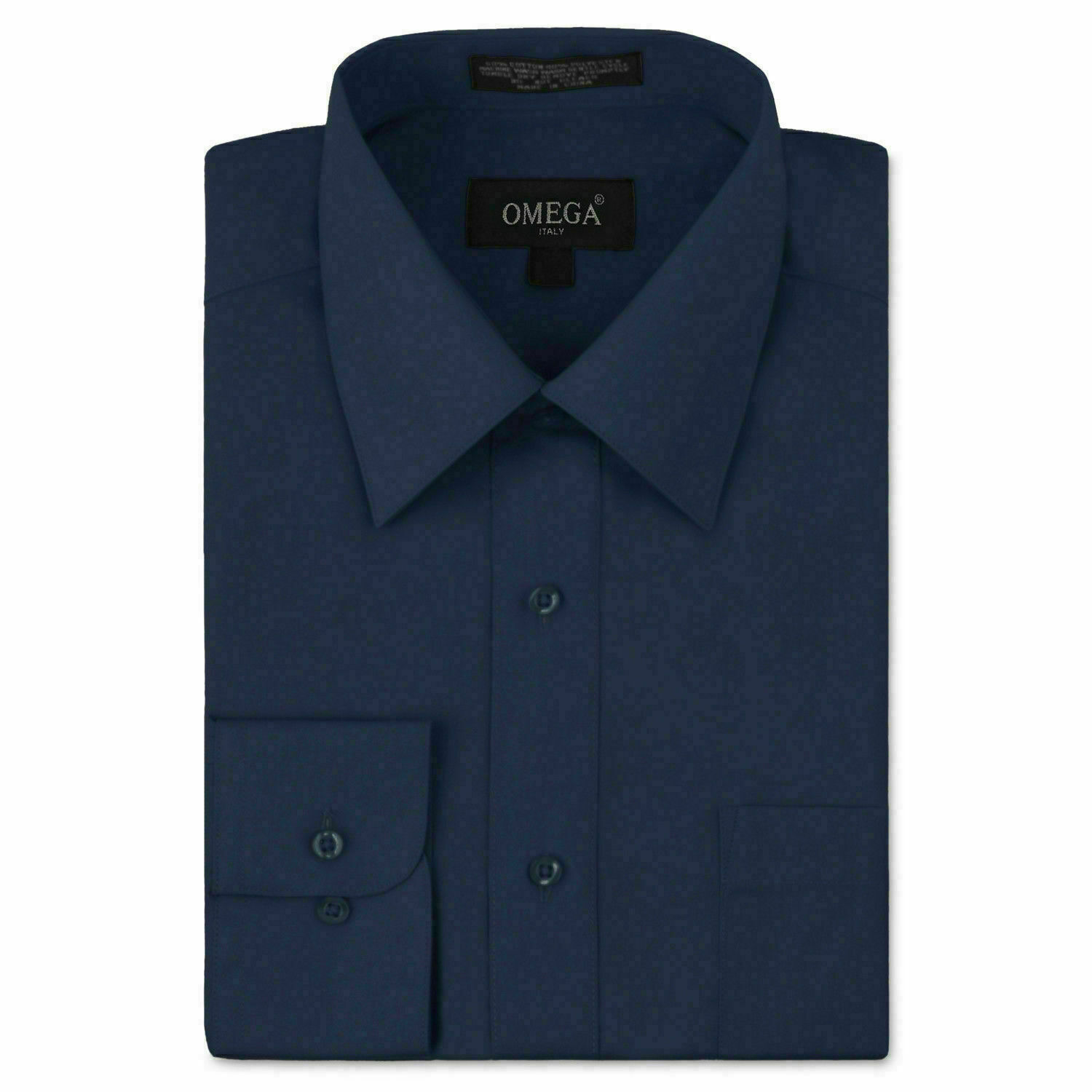 Omega Italy Men's Long Sleeve Solid Navy Button Up Dress Shirt - 3XL
