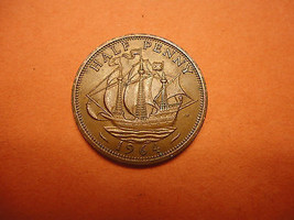 1964   ENGLISH  HALF  PENNY >>> THE SHIP COIN >>> NAVY & COAST - $1.98