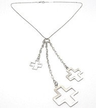 Silver 925 Necklace, Chain Venetian, Three Crosses Hanging, Shiny and Satin - $61.06