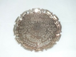 """VINTAGE CAVALIER SILVER PLATED 10"""" ROUND SCALLOPPED EDGED SERVING TRAY W... - $32.85"""