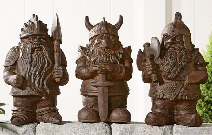 "17"" Cement Viking Gnome Design Garden Figurine 3 Assorted Designs"