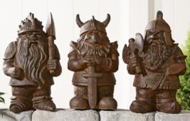 """17"""" Cement Viking Gnome Design Garden Figurine 3 Assorted Designs"""