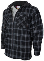 Men's Heavy Zip Up Fleece Lined Plaid Sherpa Hoodie Jacket New /w Defect Size L