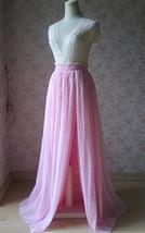 Pink Maxi High Split Tulle Skirt Pink Polka Dot One Side Split Tulle Tutu Skirt  image 2