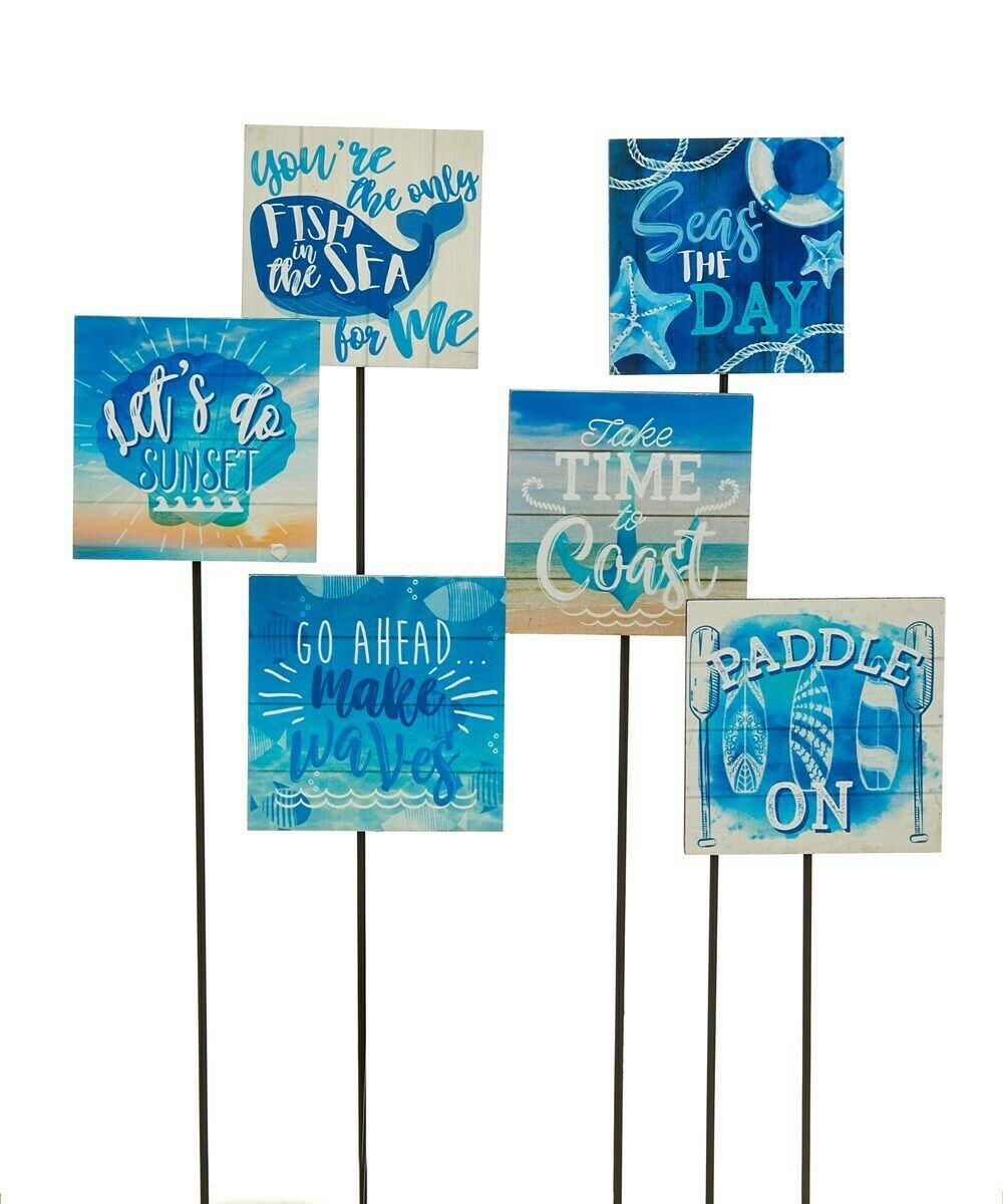 Set of 6 Nautical Sea Inspired Garden/Plant Picks Blue with Sentiments