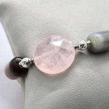 Bracelet en Argent 925 Laminé En or Rose Avec Quartz Rose Et Calcédoine image 4