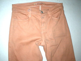New J Brand Jeans Skinny Womens Coated Peach Leather Mid 26 Tigers Eye Pants USA image 2