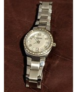 "Fossil Women's 1"" White Face Silver Stainless Steel Crystal 3 Hand Date ... - $46.90"