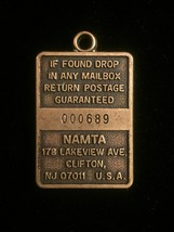 Vintage 70s NAMTA Brass Keychain Tag  image 2