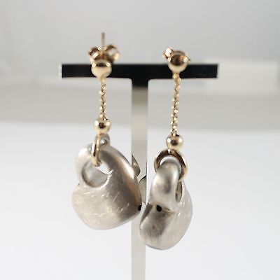 Drop Earrings in Silver 925 with Gold Chain and Hearts Curved