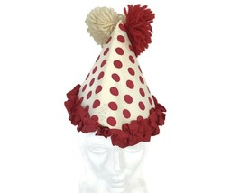 Vintage 1960s Halloween Clown Hat Adult Costume Paper With Yarn Pom Poms - €20,94 EUR