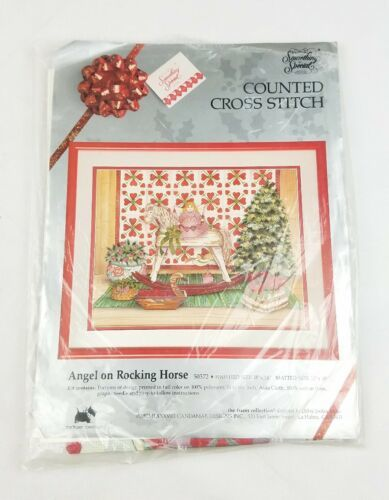 Primary image for Vtg Something Special Angel on Rocking Horse Christmas counted cross stitch Kit