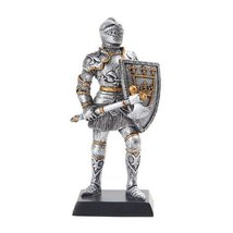 5 Inch Armored Medieval Knight with Axe and Shield Statue Figurine - £10.93 GBP