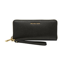 Michael Kors Black Embossed Leather Zip Around Travel Wallet NWT - $113.36