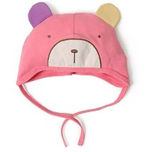 Baby Bear Hat Toddler Soft Hat Infant Cotton Hat 0-18Months (Light Red)