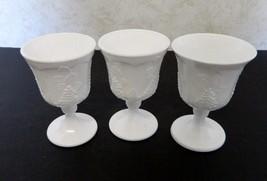 Indiana Glass Colony Milk Glass Stemmed Goblets Harvest Grape Pattern Lo... - $16.71