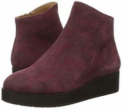 NEW LUCKY BRAND RED LEATHER WEDGE COMFORT PLATFORM BOOTIES BOOTS SIZE 8 M - $49.99