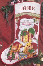 Janlynn Santa with Gifts Bears Drum Christmas Cross Stitch Stocking Kit 140-119 - $78.95
