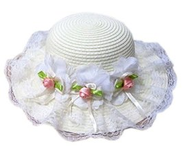 Summer Fashion Sun Hat For Kids With Flower Decor&Lace Off-white