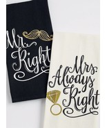 Mr Right Mrs Always Right Dish Towel Set of 2 Wedding Black White Gold New  - $15.83