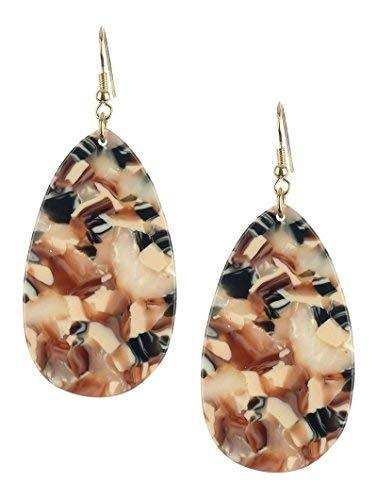 Retro Vintage Style Marble Lucite Stone Teardrop Dangle Earrings (Beige Multi)