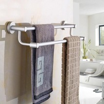 Space Aluminum Double Rods Sucker Towel Rack Bathroom Towel Shelf Holder... - $13.30