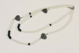 Double Strand Necklace Faux Pearl and Metal Hearts Marked CG Estate Fresh - $6.34