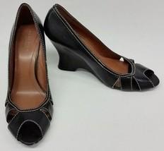 Kenneth Cole Reaction Shoes Peep Toe Black Wedge Heel Cut Outs Black Siz... - $39.56