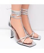 Zara Womens Tied Leather High Heels Sz 9 Eu 40 Silver Metallic 5634/001 NWT - $98.01