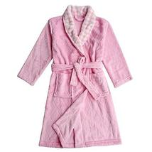 Soft Plush Diamond Pattern Lapel Bathrobes for Boys Girls Bath Homewear, Pink