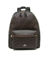 NWT COACH Charlie Backpack Laptop Tablet Canvas Classic Brown Black Gold... - $144.54