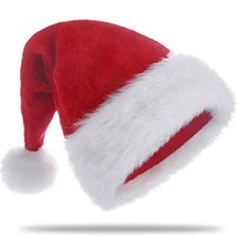 HUICOCY Santa Hat,Unisex Velvet Fabric Christmas Hat with Comfort Lining... - $11.25