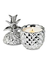 Coconut Scented Candle In a Silver Pineapple Ceramic Jar 30 Hour Burn Time - $20.03