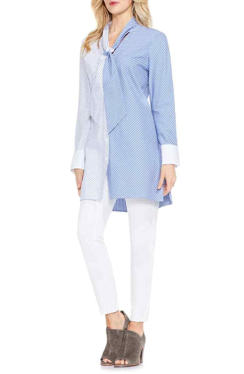 Vince Camuto Womens Tunic Mixed Stripe Button Down Poplin Blouse Size XS $129 - $27.22