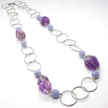 Necklace Silver 925, Fluorite Oval Faceted Purple, Chalcedony, 70 CM image 3