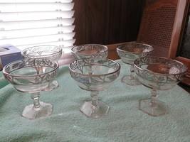 6 Antique Champagne Coupe Glasses Clear Vine Silver Vine Starburst Lot R... - $100.00