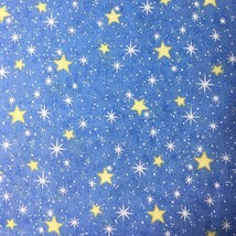 """Stars and Sky Fabric White and Yellow on Blue by Fabric Traditions 45"""" Wide - $3.60"""