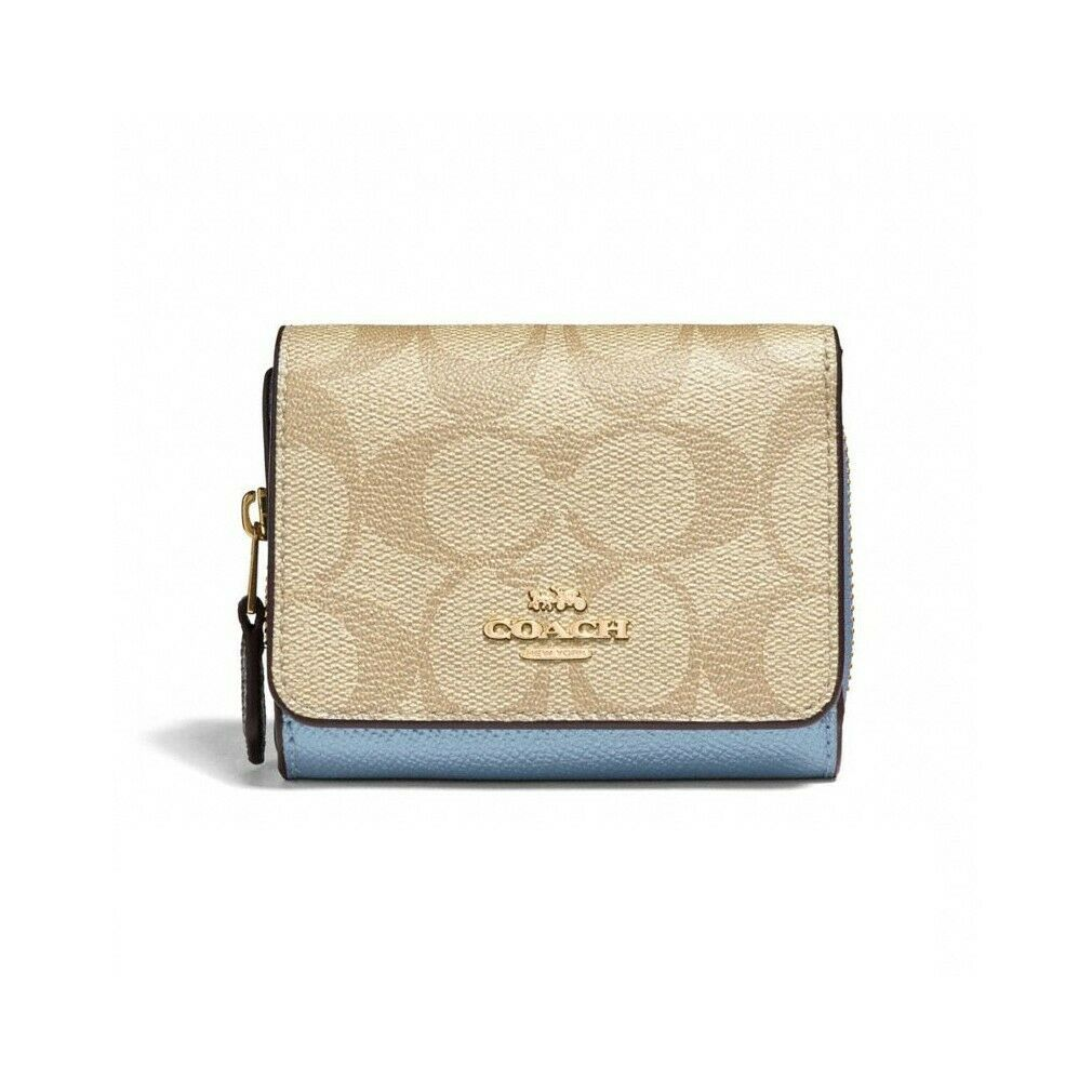 03387538 NWT COACH Small Trifold Wallet Signature Zip and 50 similar items