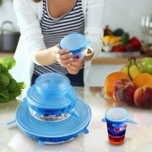 Silicone Lids Suction 6Pcs Food Preservation Cooking Cover Spill Stopper... - $12.99