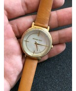 Michael Kors Women's Cinthia Three-Hand Gold-Tone and Brown Leather Watch - $107.53