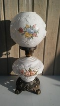 Vintage Phoenix Glass Raised Roses Floral Gone With The Wind Parlor Lamp - $183.15