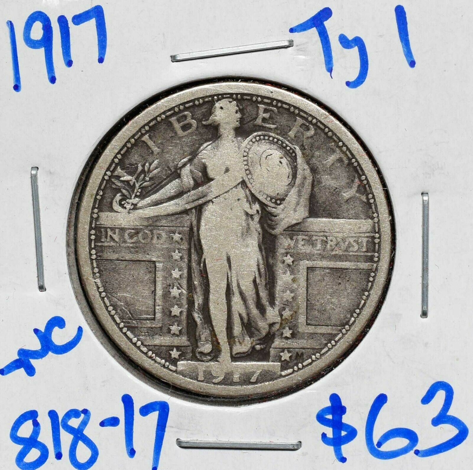 1917 Type I Standing Liberty Silver Quarter Coin Lot# 818-17