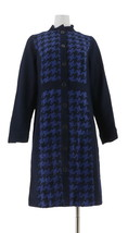 Isaac Mizrahi Lined Houndstooth Button Front Long Slv Coat Navy 8 NEW A2... - $85.12