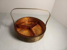 "Depression Era 6.5"" Amber Divided Relish Dish Brass Metal Carrier Folding Handle - $12.34"
