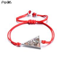(TRIANGEL SILVER R) PiPitree Rope Braided Geometric Charm Bracelet Femme... - $20.00