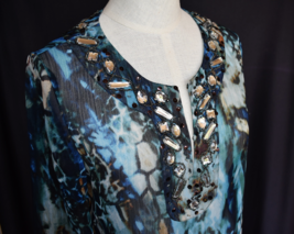 CHICOS Blouse Top 0 Embellished Front Sheer Multi Blues Hand Wash BEAUTIFUL - $22.50