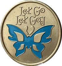 Let Go Let God Blue Butterfly Medallion  - $17.99
