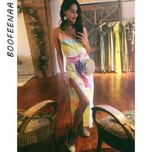 BOOFEENAA Tie Dye Print Sexy V Neck Split Long Maxi Dress with Sashes Satin Silk - $66.24+